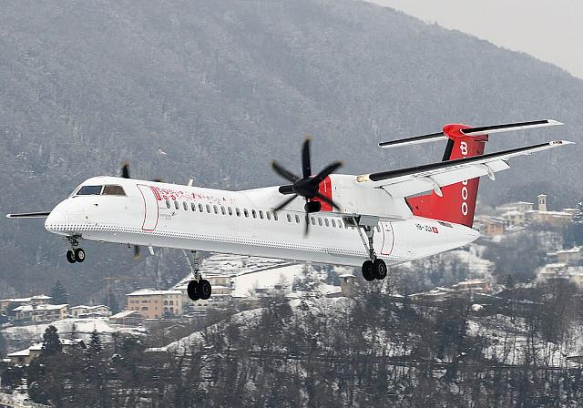 HB-JQA DH8D (30.01.2012) First scheduled flight with a Dash 8-400 from Lugano!