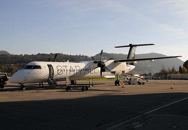 OE-LGO DH8D (01.11.2014) - First flight LSZH-LSZA with Tyrolean on behalf of Swiss