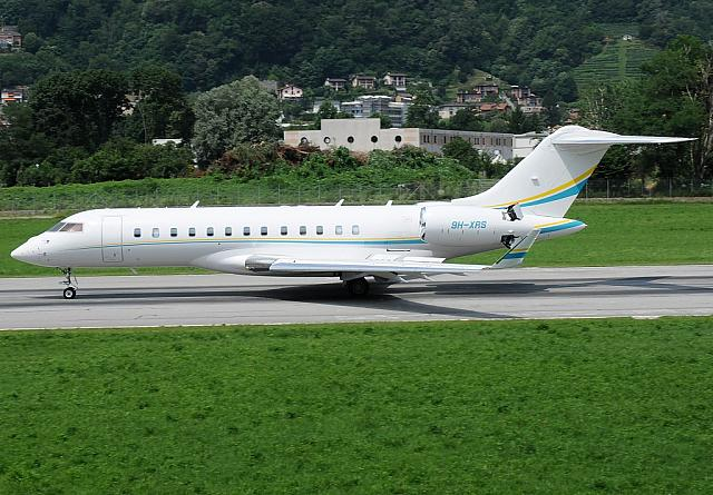 9H-XRS GLEX (29.06.2012) First visit at Lugano-Airport for Comlux Aviation Malta.